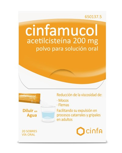 CINFAMUCOL ACETILCISTEINA 200 mg POLVO PARA SOLUCION ORAL , 20 sobres