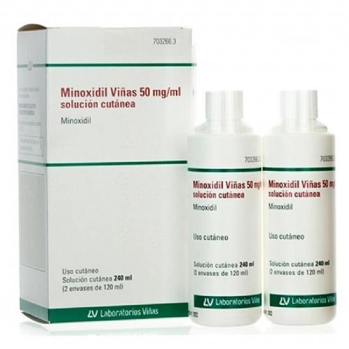 MINOXIDIL VIÑAS 50 mg/ml SOLUCION CUTANEA , 2 frascos de 120 ml