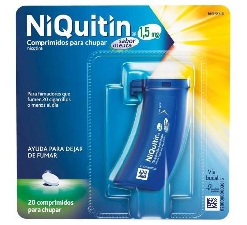 NIQUITIN 1,5 mg COMPRIMIDOS PARA CHUPAR SABOR MENTA , 20 comprimidos