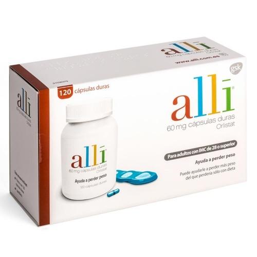 ALLI 60 mg CAPSULAS DURAS ORLISTAT, 120 cápsulas