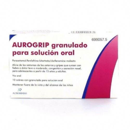 AUROGRIP GRANULADO PARA SOLUCION ORAL , 10 sobres