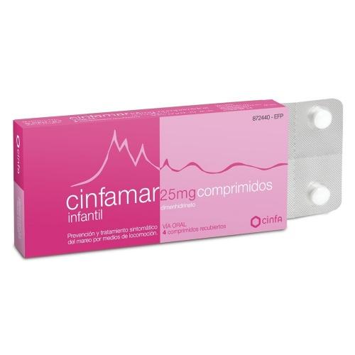 CINFAMAR INFANTIL 25 mg COMPRIMIDOS RECUBIERTOS , 4 comprimidos