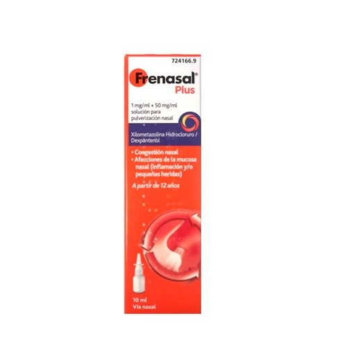 FRENASAL PLUS 1 MG/ML + 50 MG/ML SOLUCION PARA PULVERIZACION NASAL, 1 frasco de 10 ml